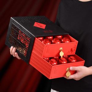 中秋茶礼武夷山大红袍乌龙茶叶144G双层镂空礼盒装18小茶罐装送礼