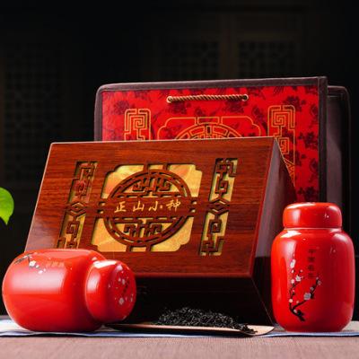 年货茶礼 武夷山原产地正山小种红茶叶100g 中国红 精美窗花礼盒