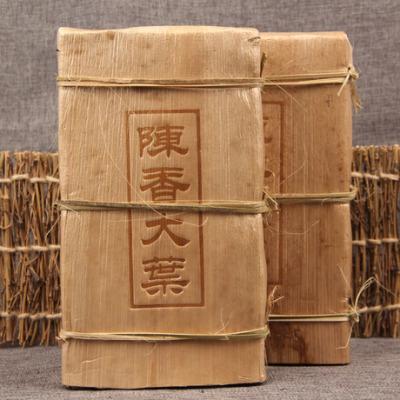 陈年老熟茶 1000g 古树 陈香大叶普洱茶砖 沉香竹壳老茶砖
