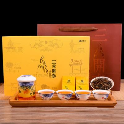 茶叶礼盒装 三羊开泰金骏眉过年茶礼精品配茶具400g大分量 包邮