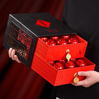 中秋茶礼桐木关金骏眉红茶小茶罐180g双层窗花镂空礼盒装品质豪礼