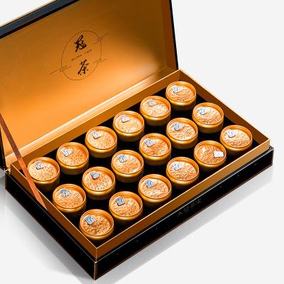 大红袍乌龙茶小金罐装 武夷岩茶礼品礼盒装冠茶18罐