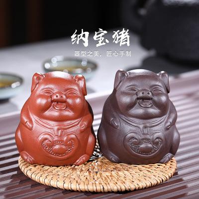 宜兴原矿紫砂茶宠小猪手工纳福宝猪批发茶具小摆件