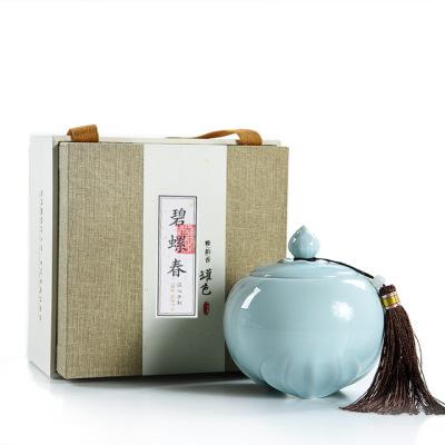 新茶绿茶礼盒装 新茶明前 洞庭湖碧螺春茶叶150克 陶瓷装【包邮】
