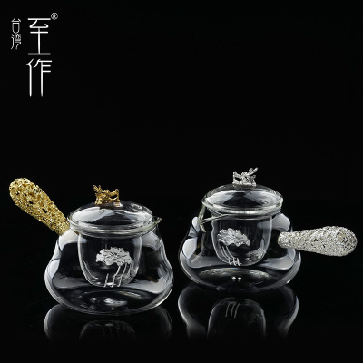 至作 玻璃茶壶煮茶壶 手工家用耐高温侧把壶泡茶壶镶银过滤花茶壶