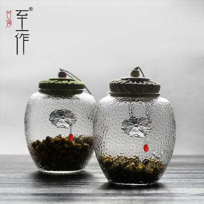 镶银999荷叶鱼玻璃茶叶罐花茶密封罐透明存储罐软木塞防潮储物罐