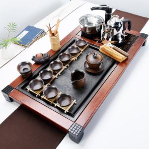 黑檀乌金石实木茶盘套装功夫茶具大号家用简约电磁炉喝茶壶台杯道