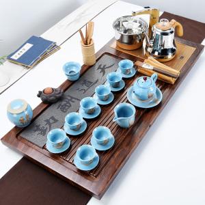 黑檀红木茶盘套装变色创意家用大小号实木陶瓷茶具茶壶杯道电磁炉