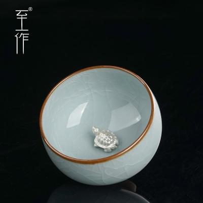 至作镶银小杯功夫小茶杯景德镇陶瓷手工茶盏主人杯汝窑茶具单杯