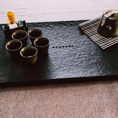 天然乌金石茶盘