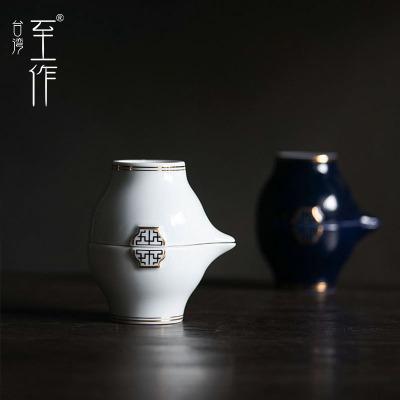纯银茶滤内胆一壶二杯旅行茶具套装陶瓷公杯便携包户外简约快客杯