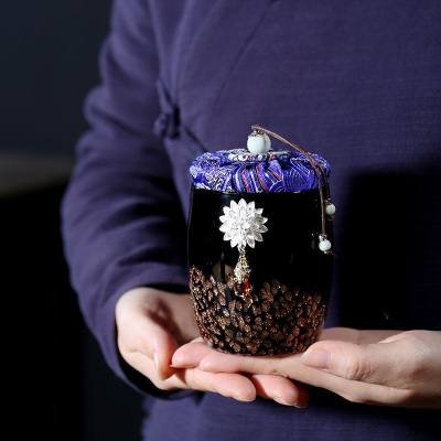 陶瓷镶银茶叶罐家用送礼高档