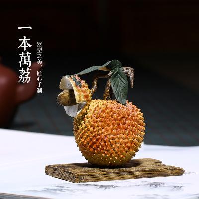 紫砂荔枝茶宠一本万荔纯全手工雕塑摆件功夫装饰