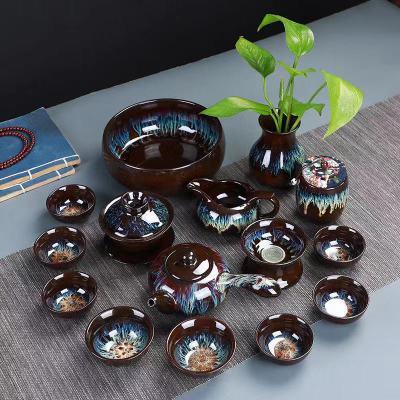沙金釉钧窑建盏窑变天目釉哥窑玲珑陶瓷功夫茶具茶壶茶杯家用套装