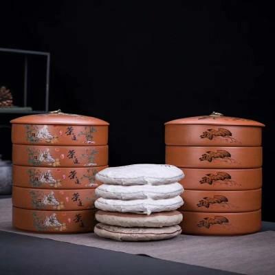 紫砂茶叶罐陶瓷大号普洱茶罐密封陶罐存茶防潮干果储物陶瓷密封罐
