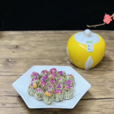 2020工艺花茶双龙戏珠采用上等的白毫银针为原料与茉莉花千日红金盏花