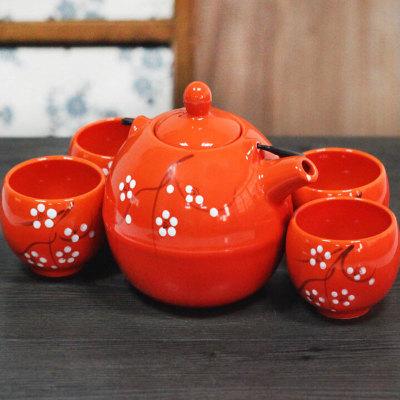中国风陶瓷梅花茶具五件套礼盒包装橙色客厅用品