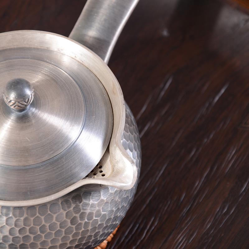 典工堂银茶壶 锤纹侧把银壶 足银茶具手抓泡茶壶 纯手工日本银壶