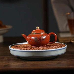 紫砂一厂水平壶,130cc,大红袍泥料