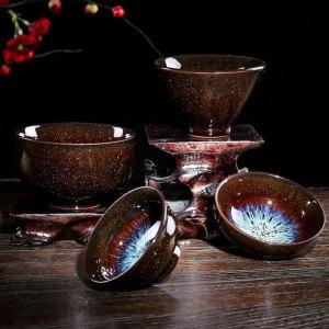 沙金曜变品茗杯陶瓷窑变功夫茶杯天目釉小茶盏单个主人杯建盏茶碗