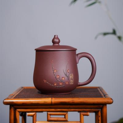 宜兴原矿紫砂盖杯纯手工贴花紫砂茶具