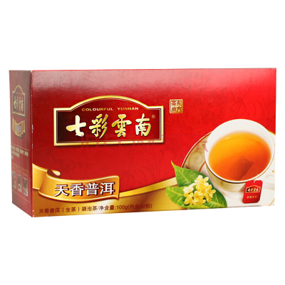七彩云南庆丰祥 天香普洱袋泡茶生茶100g 盒装办公茶 快捷茶饮小茶包