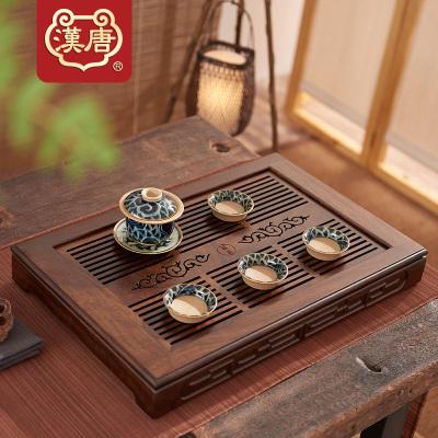 汉唐实木茶盘家用客厅大号茶台储水式茶海简约黑紫檀大博古