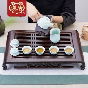 汉唐茶盘黑檀小雅志 实木茶台 家用抽屉式储水功夫茶托盘