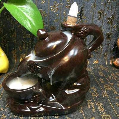 黑檀茶壶倒流香摆件+檀香一盒各种造型详询客服发图