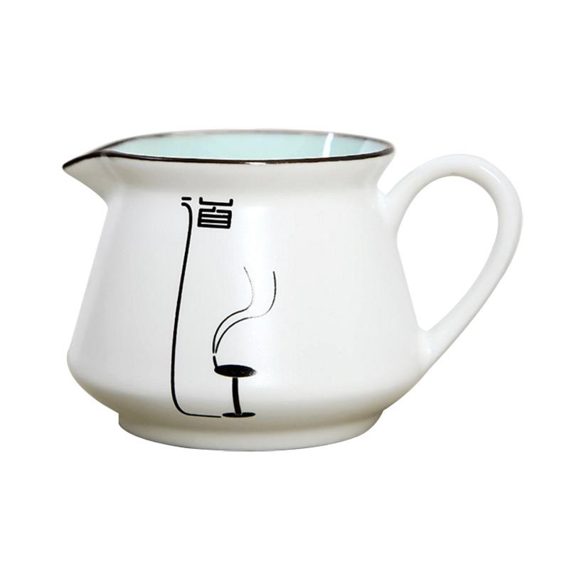 高档陶瓷手绘公道杯 批发定窑亚光功夫茶具茶海 手绘瓷器亚光茶海