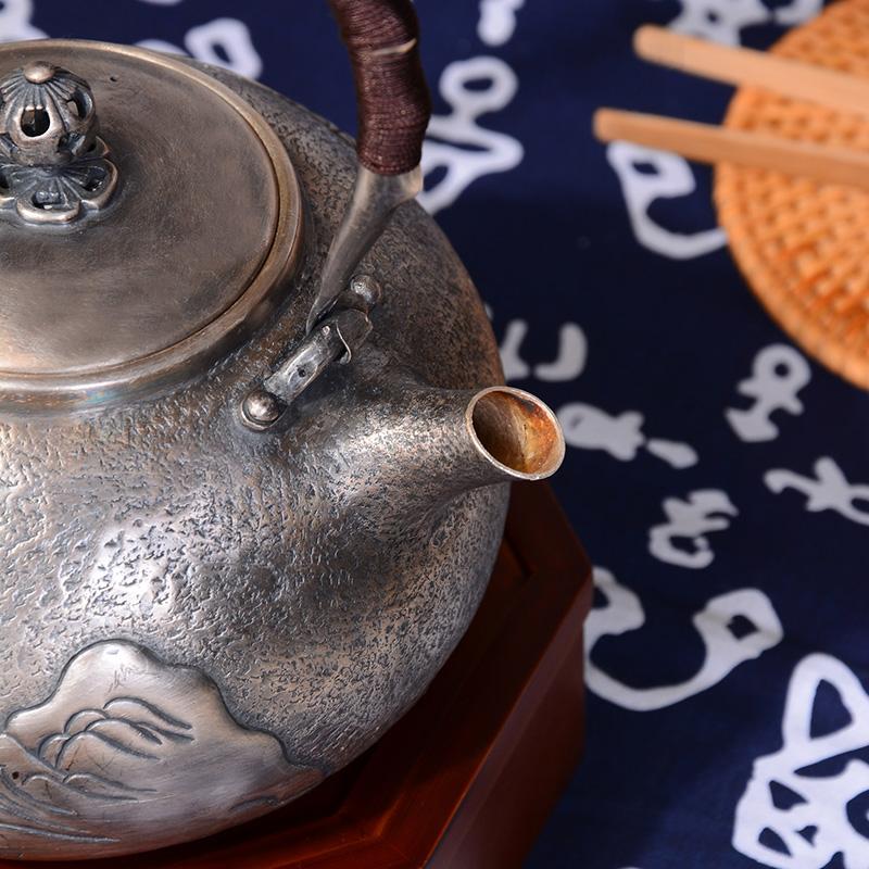 典工堂银壶 纯银足银壶大展宏图银茶壶 烧水壶 纯手工送礼银茶具