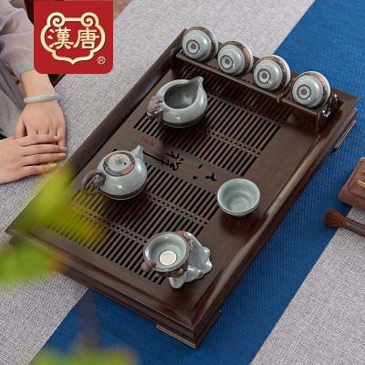 汉唐茶盘实木茶具客厅家用茶台黑紫檀吉祥