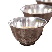 典工堂银杯 足银水杯茶杯百目锤纹银杯子 功夫茶具手工个人品茗杯