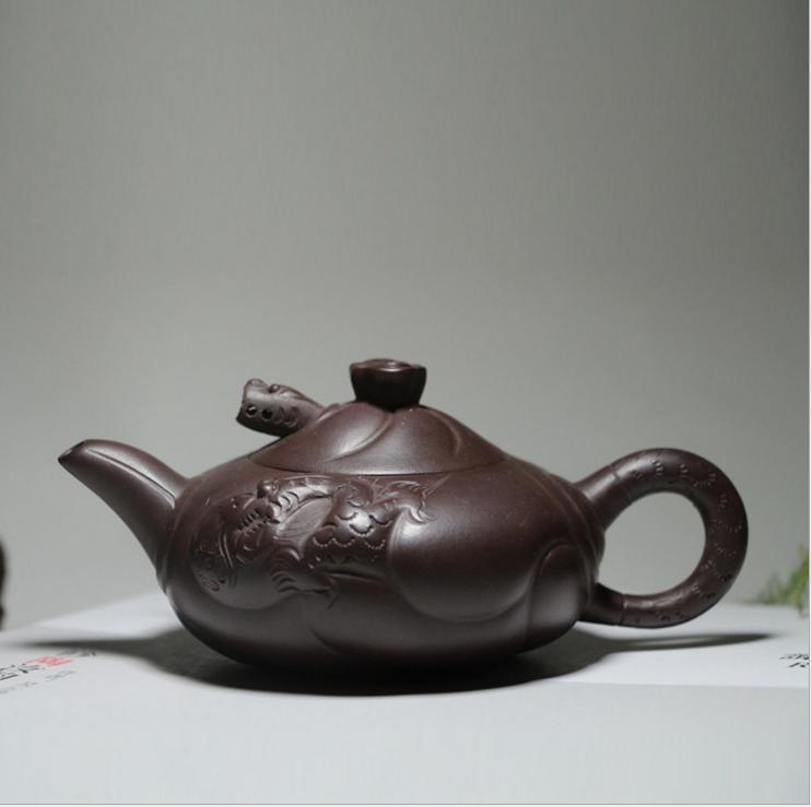 宜兴紫砂壶名家全手工 小品鱼化龙茶壶 老紫泥功夫茶具