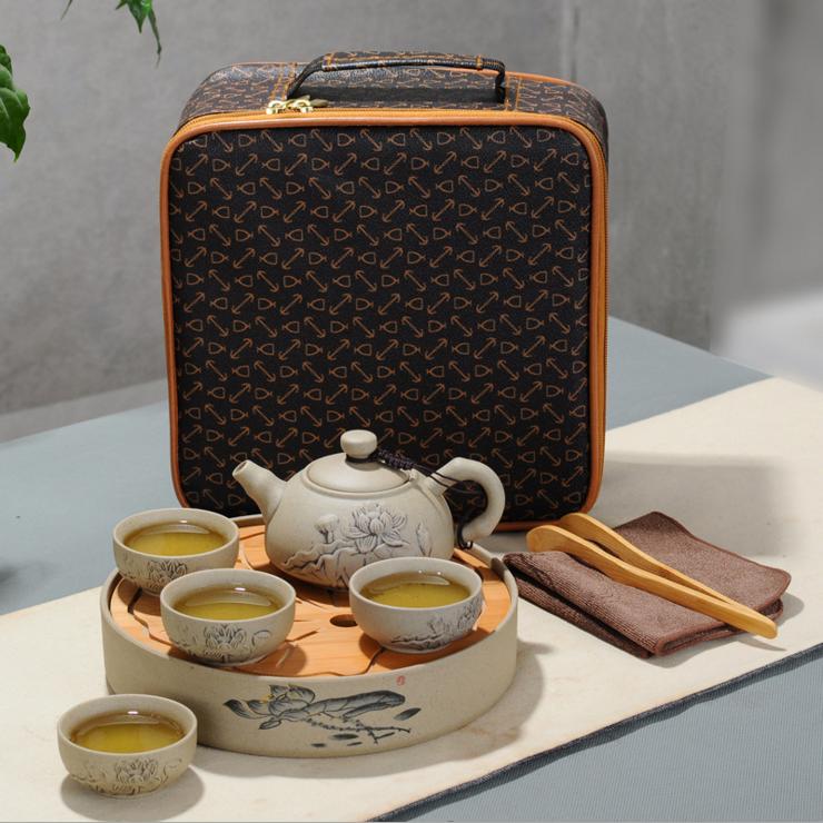 陶瓷功夫茶具旅行茶具粗陶茶具套装茶盘茶具旅行布袋包装