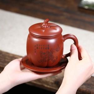 四件套紫砂内胆盖杯批发厂家手工大红袍南瓜隔仓茶杯过滤网杯子 390毫升