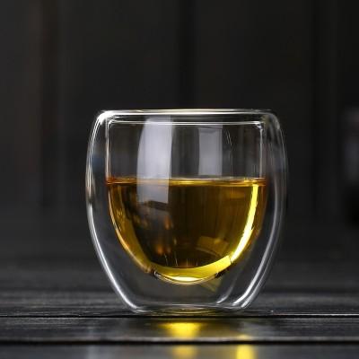 玻璃双层杯不烫手隔热玻璃水杯女家用办公室牛奶咖啡杯子创意透明