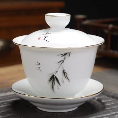 德化白瓷茶盖碗羊脂白玉瓷泡茶容器三才碗功夫茶具陶瓷碗杯手抓壶180毫升