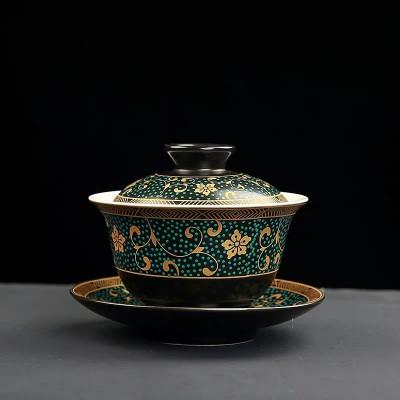 复古陶瓷三才盖碗 家用青花泡茶器敬茶碗手抓壶茶杯 功夫茶具配150毫升