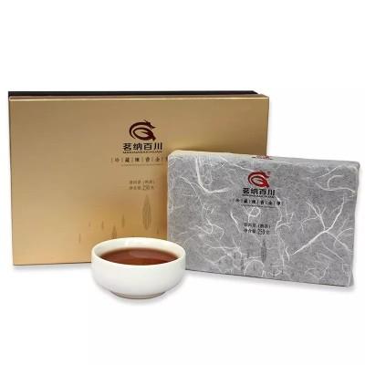 云南普洱茶 熟茶 茗纳百川 勐海砖茶 珍藏陈香金芽 250克 金卡盒