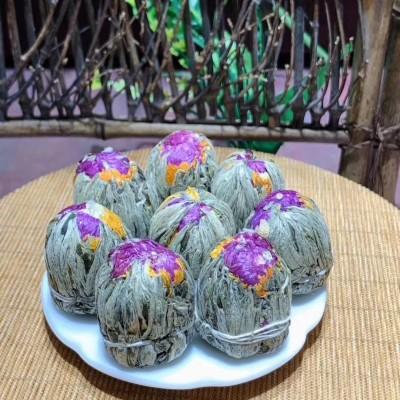 2020新茶叶正宗手工工艺花球双龙戏珠会开花的茶叶罐装组合花茶