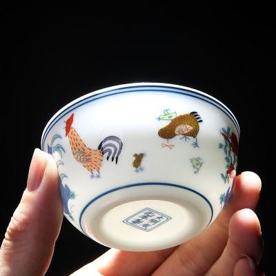 买一送一 景德镇大明成化斗彩鸡缸杯仿古功夫茶具茶杯功夫杯子主人杯品茗杯