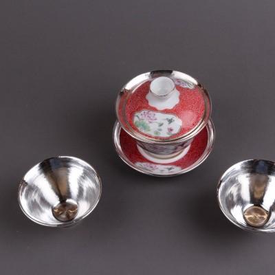 瓷包银盖碗套装尺寸D9×H9  D7xH4.5容量220ml