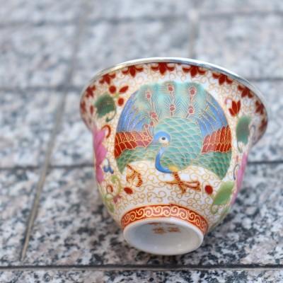 瓷包银茶杯6.5cm 3cm 容量60cc 金丝孔雀瓷包银主人杯