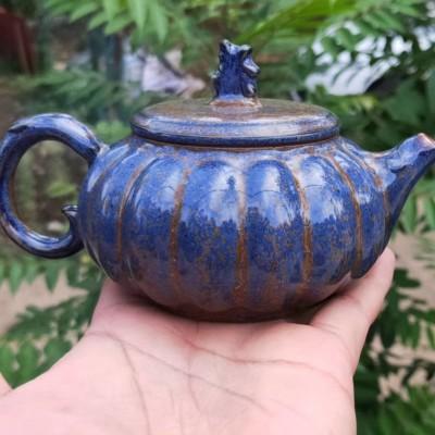 钧瓷茶壶单壶禹州神垕钧窑窑变开片功夫茶具家用泡茶单个大号手工