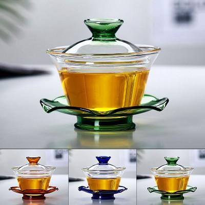 耐热玻璃盖碗 功夫茶具 耐高温玻璃三才杯 泡茶杯敬茶杯茶碗盖杯