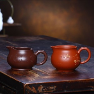 紫砂双色点彩公道杯手工原矿分茶器功夫茶具