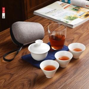 陶瓷旅行茶具便携快客杯玉瓷功夫茶具茶杯180/盖碗130/杯子40毫升