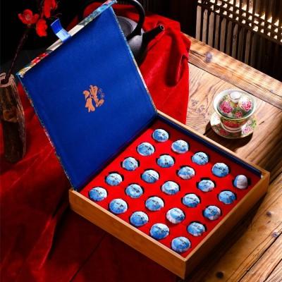 2020新茶新会小青柑普洱茶桔皮茶叶熟茶散装刺绣茶叶礼盒装25粒装