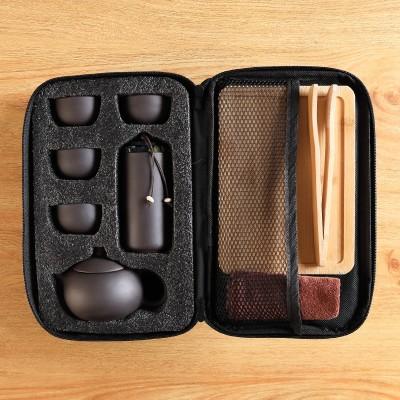 原矿紫砂便捷式旅行茶具套装一壶四杯茶叶罐